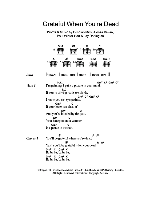 Grateful When You're Dead/Jerry Was There sheet music