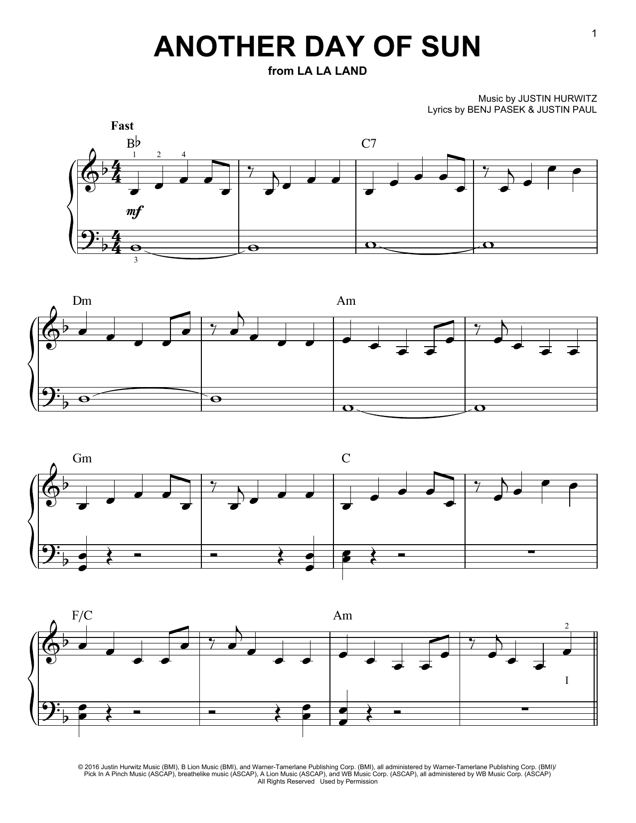 La La Land Cast Another Day Of Sun From La La Land Sheet Music Download Pdf Score 179164