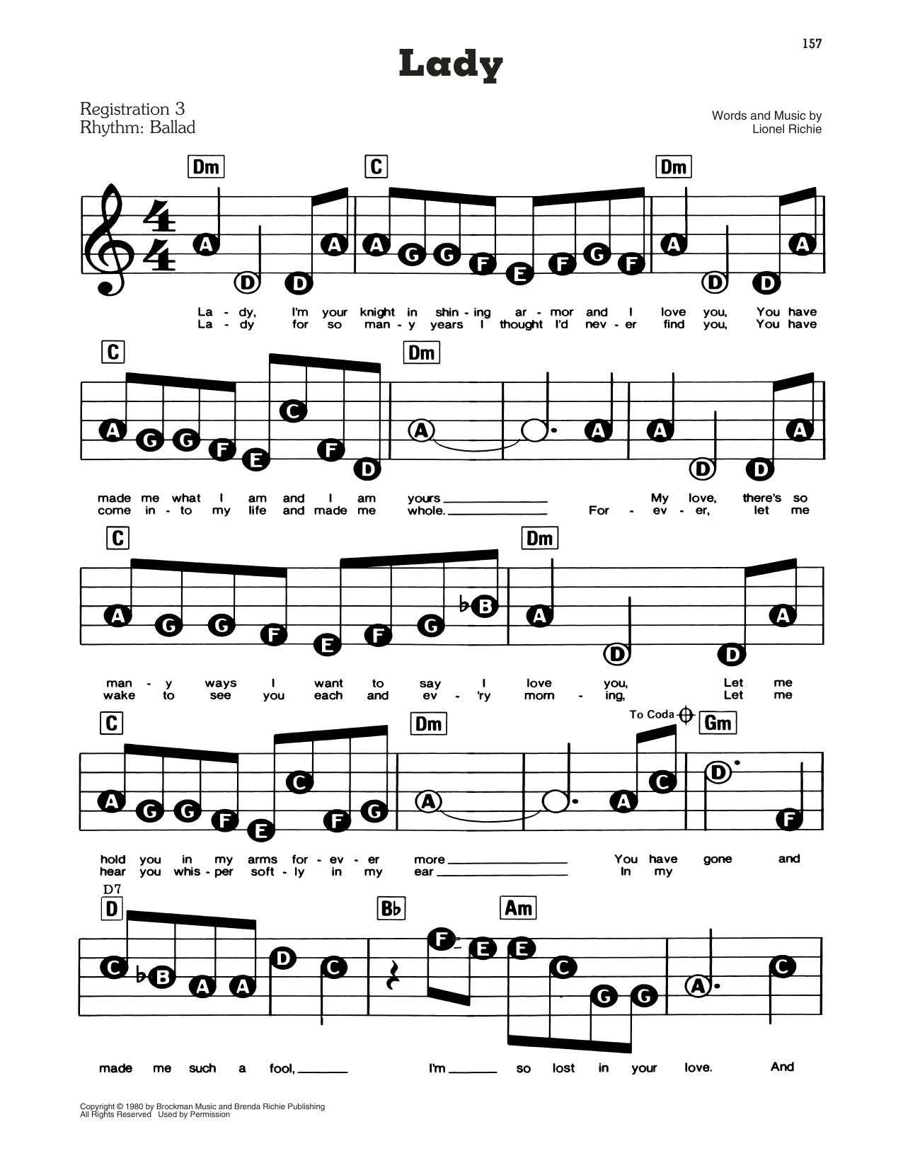 Kenny Rogers Lady Sheet Music Download Pdf Score 429289