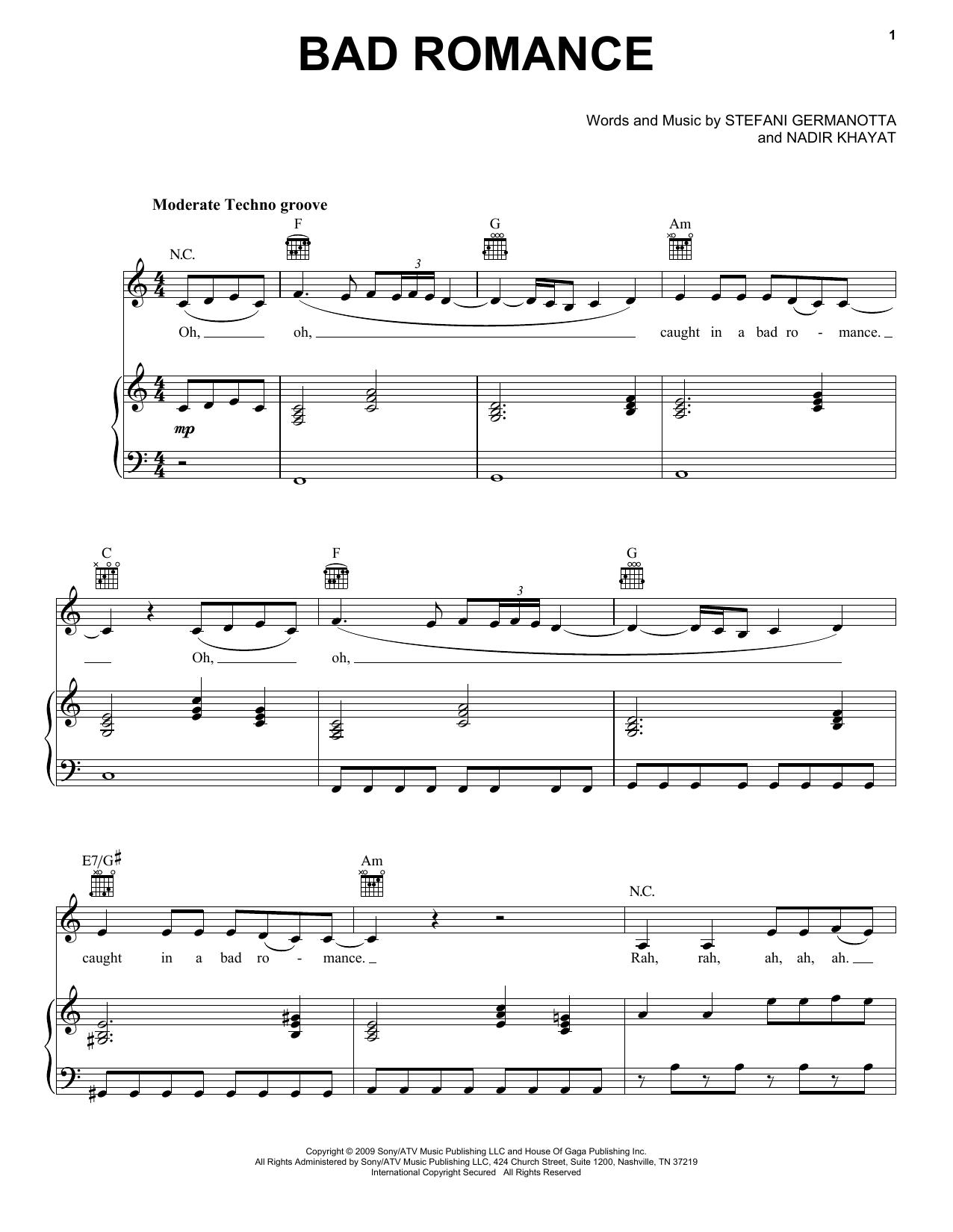 Bad Romance sheet music