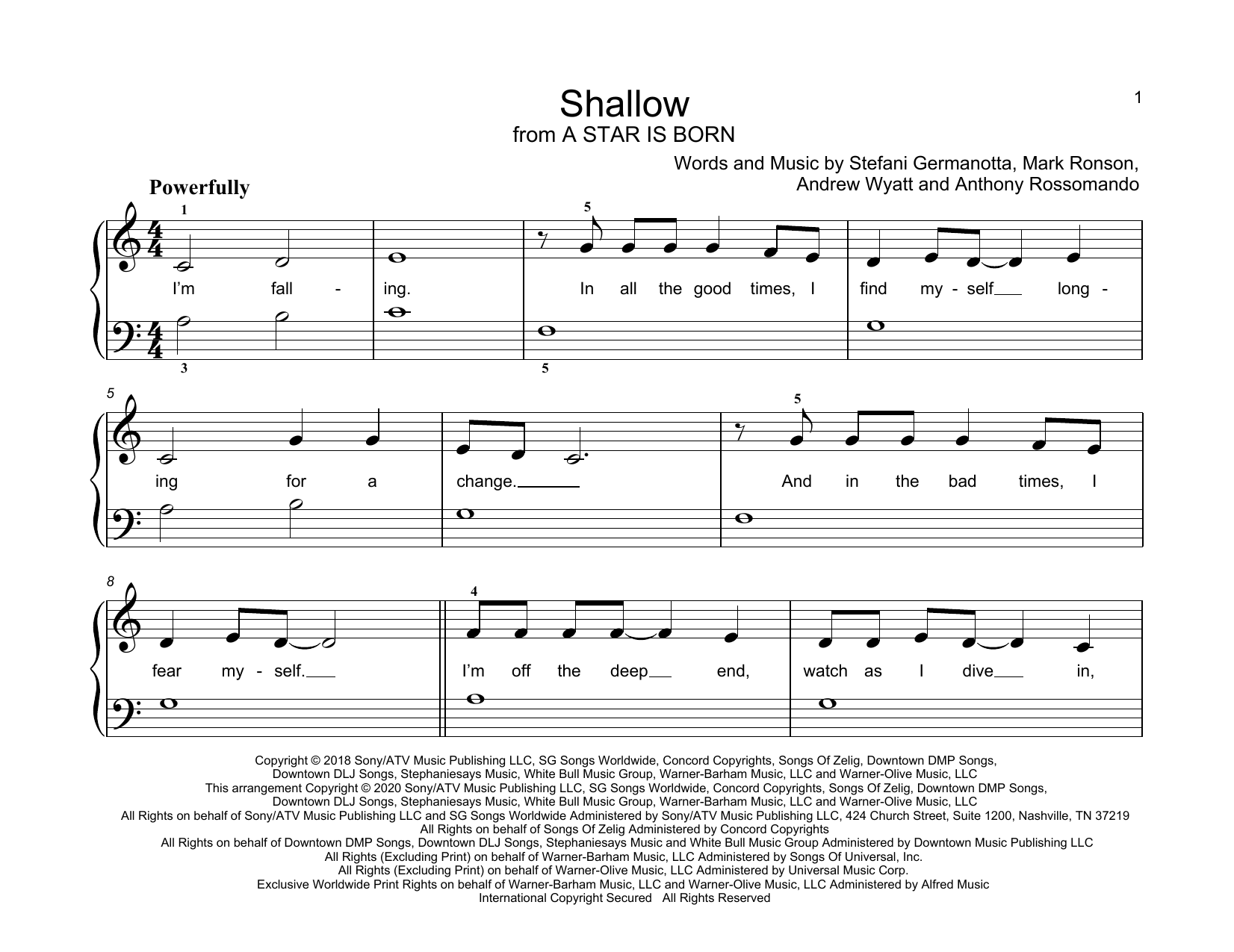 Shallow (from A Star Is Born) sheet music