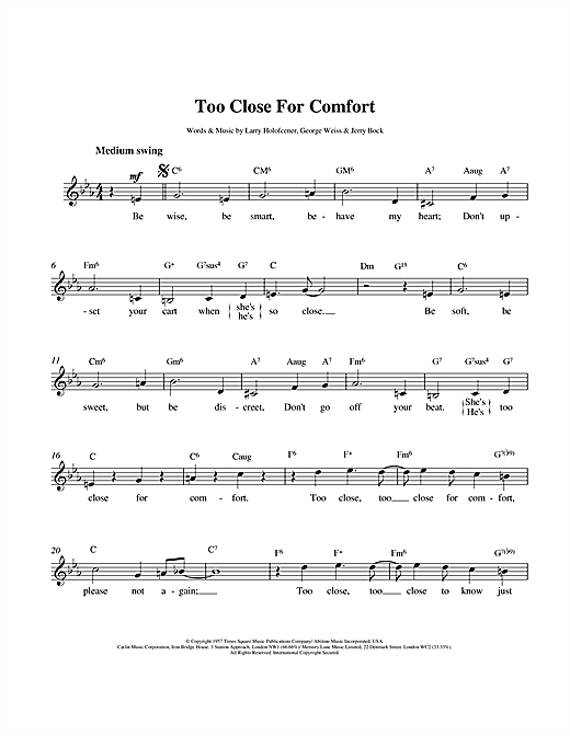 Too Close For Comfort sheet music