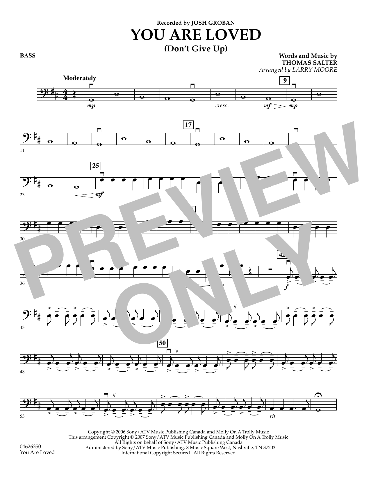 You Are Loved (Don't Give Up) - Bass sheet music
