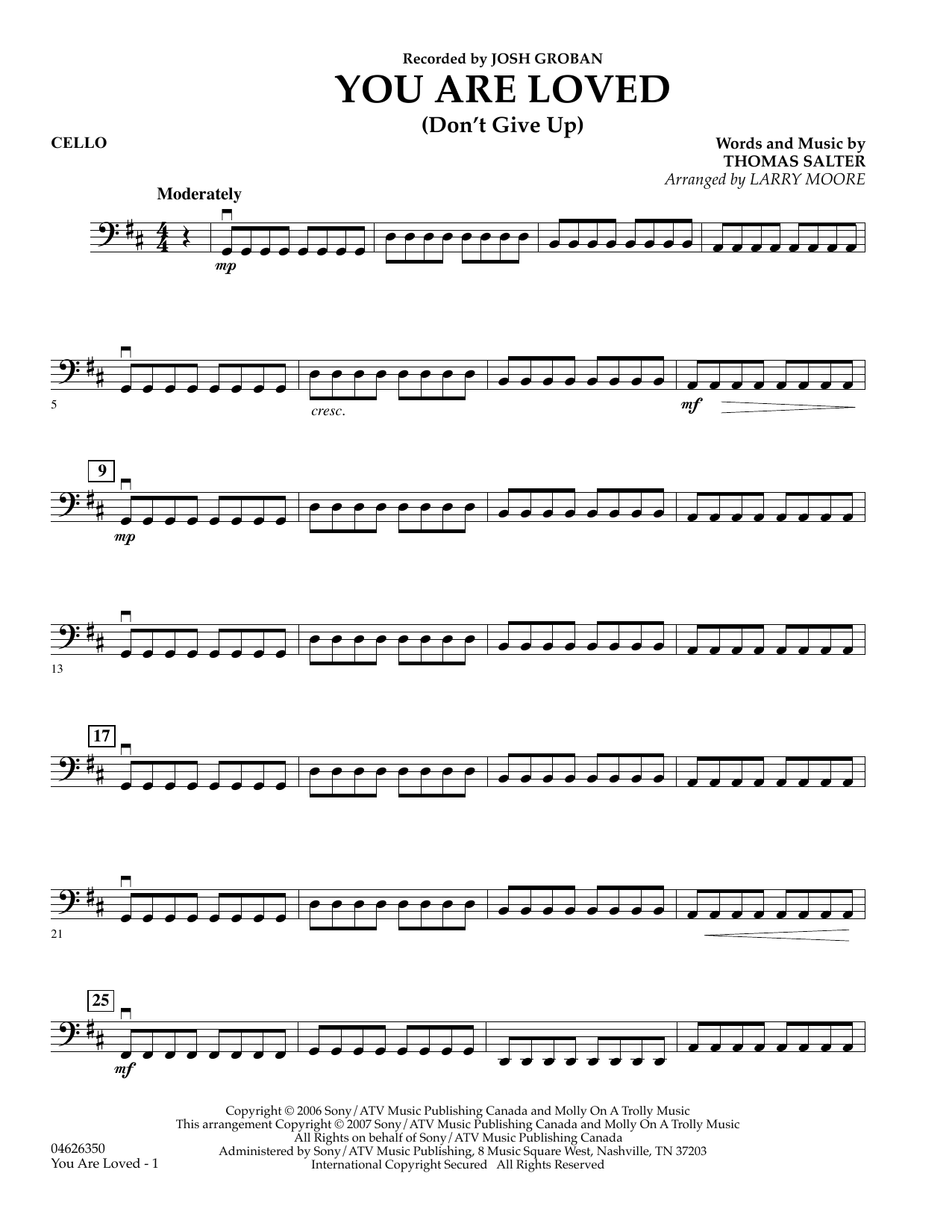 You Are Loved (Don't Give Up) - Cello sheet music