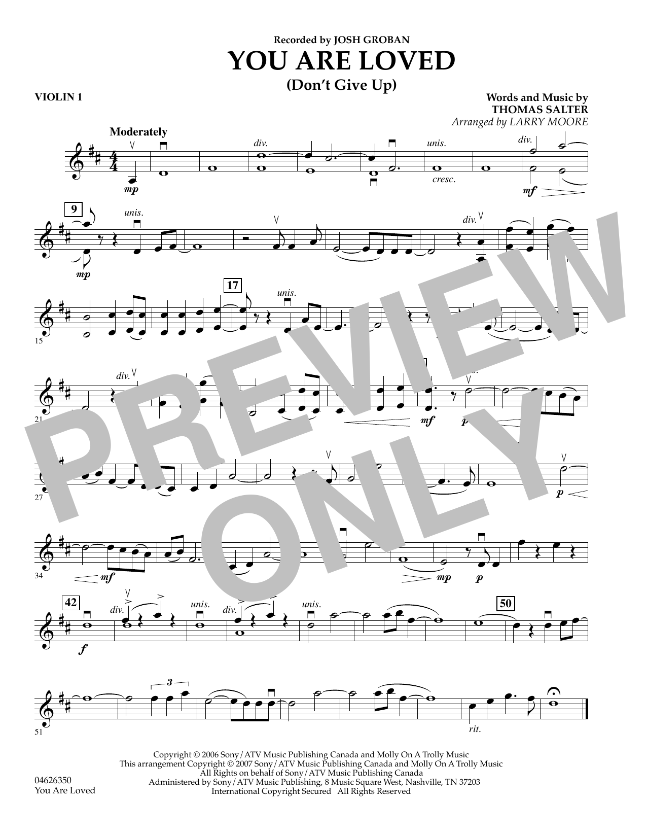 You Are Loved (Don't Give Up) - Violin 1 sheet music