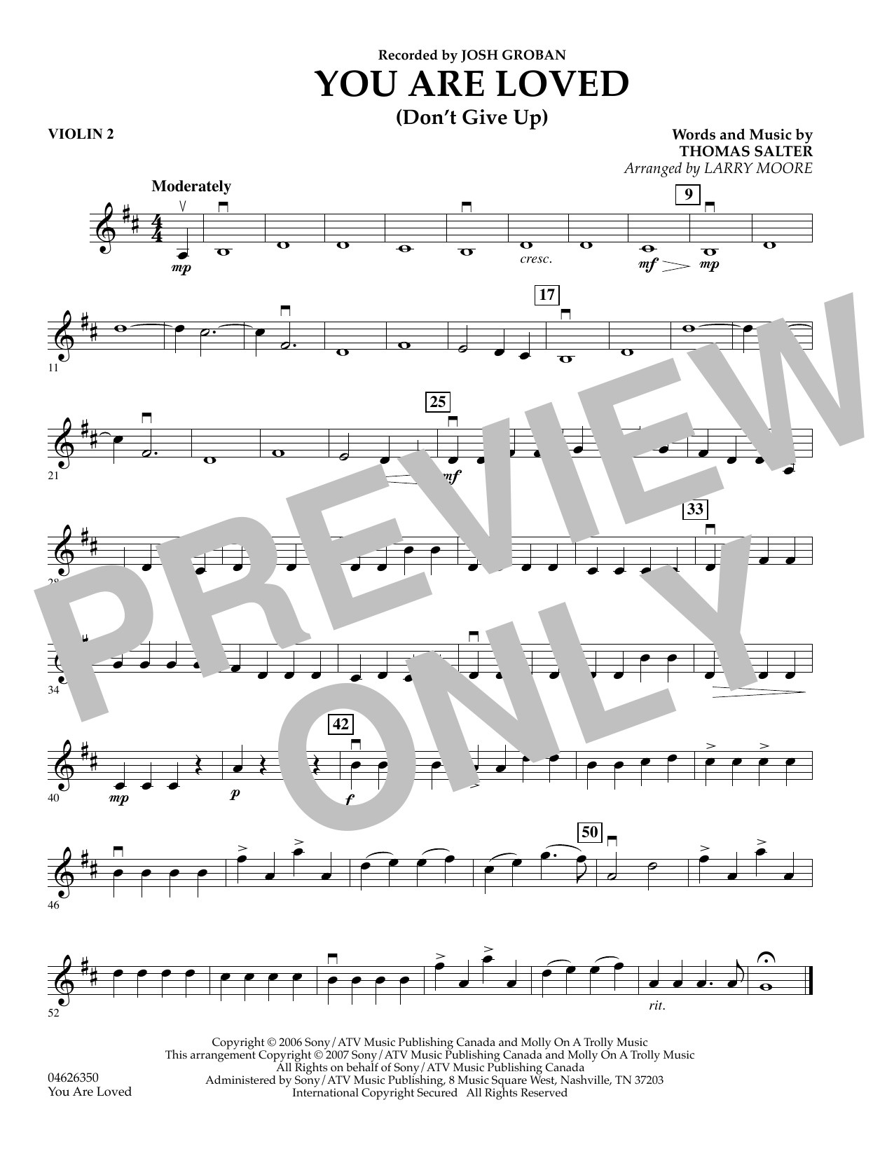 You Are Loved (Don't Give Up) - Violin 2 sheet music