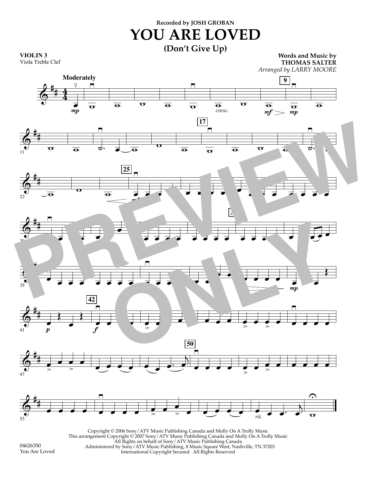 You Are Loved (Don't Give Up) - Violin 3 (Viola Treble Clef) sheet music
