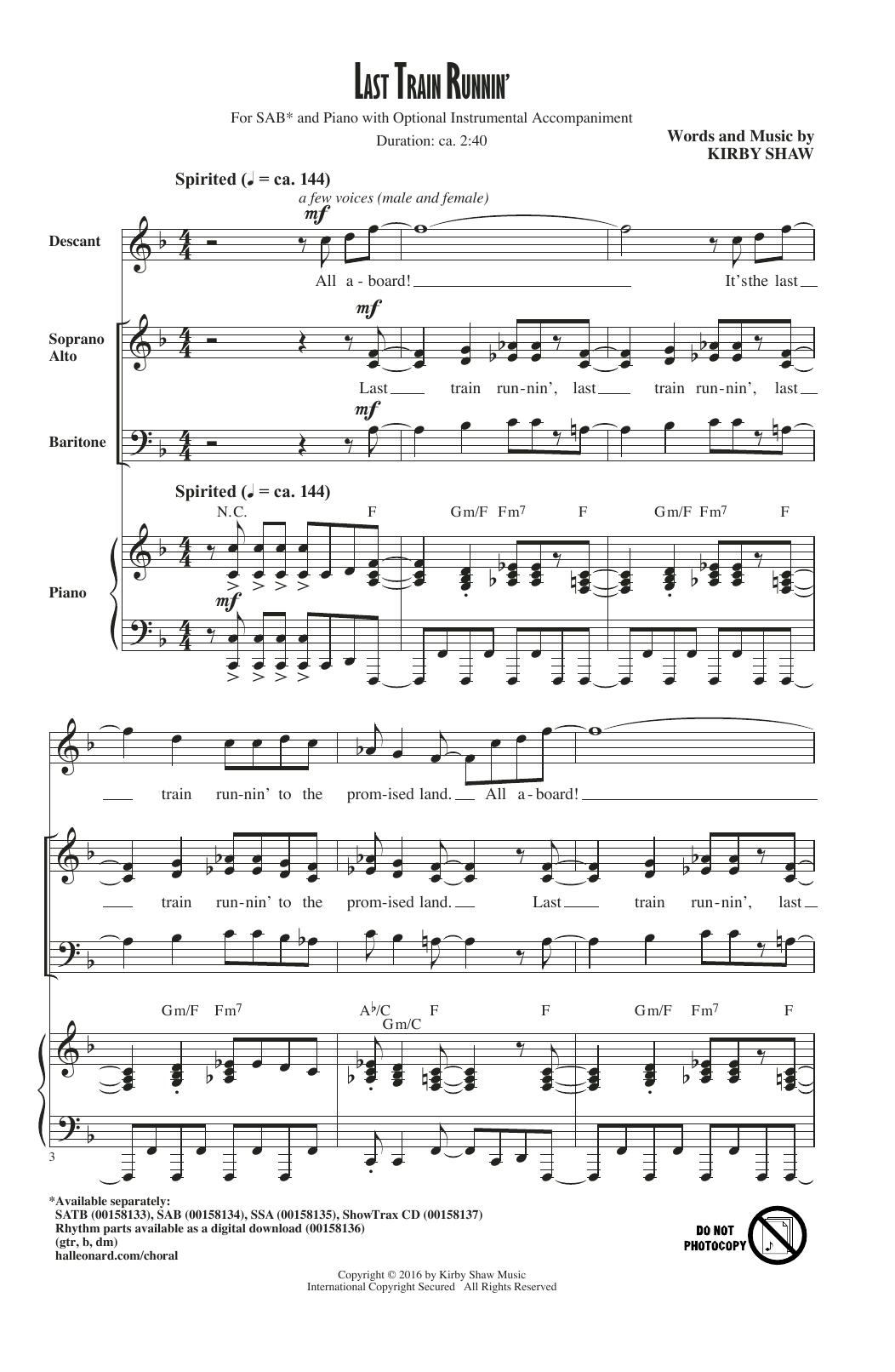 Last Train Runnin' sheet music