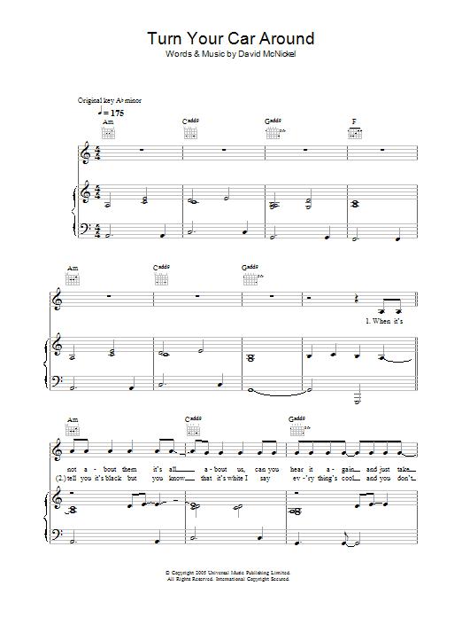 Turn Your Car Around sheet music