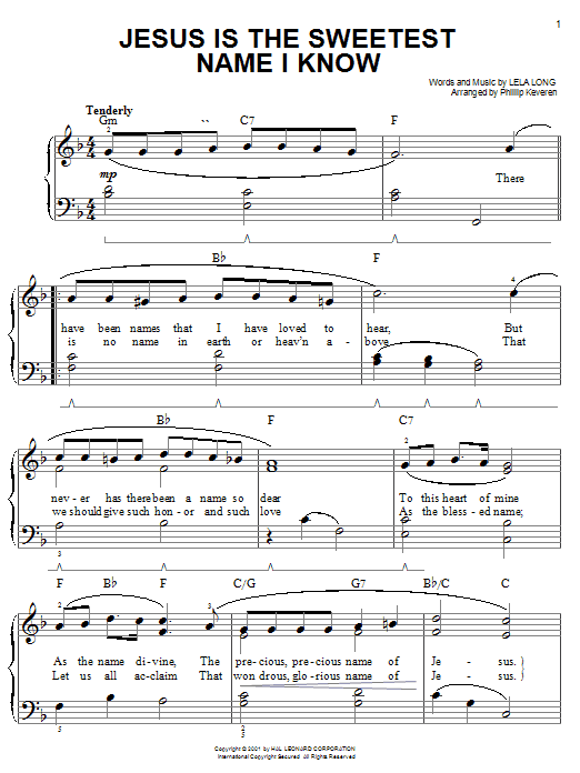Jesus Is The Sweetest Name I Know sheet music