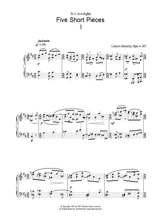 Five Short Pieces, No.1, Op.4 sheet music