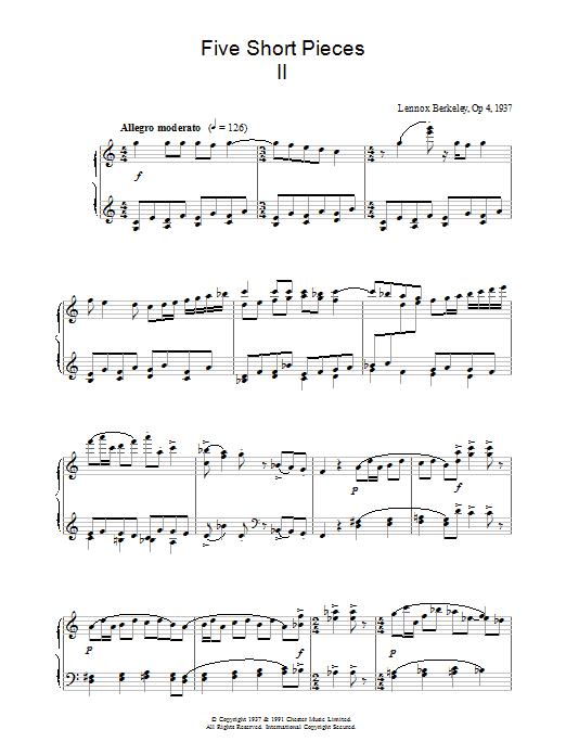 Five Short Pieces, No.2, Op.4 sheet music