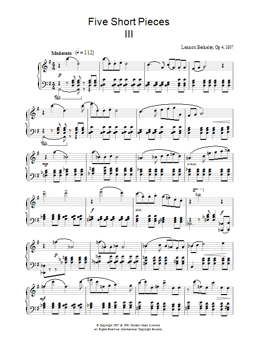 Five Short Pieces, No.3, Op.4 sheet music