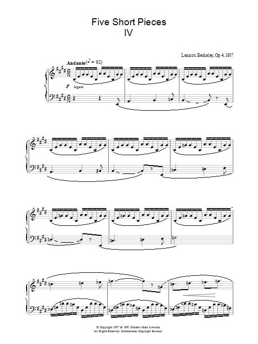 Five Short Pieces, No.4, Op.4 sheet music