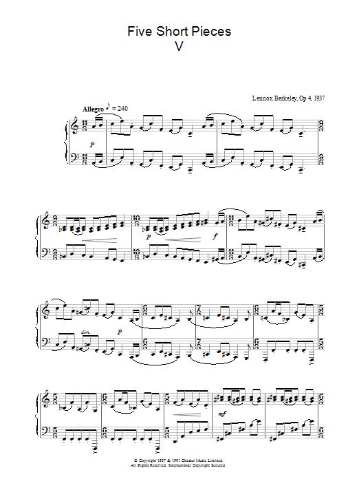 Five Short Pieces, No.5, Op.4 sheet music