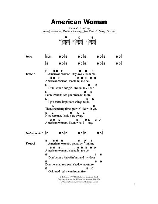 American Woman sheet music