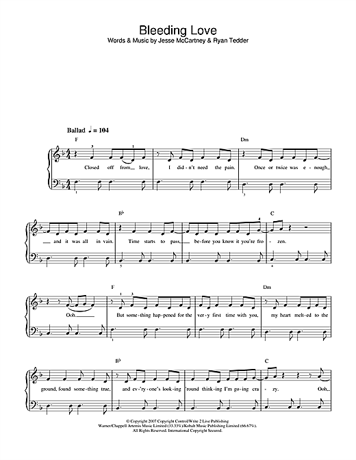 Bleeding Love sheet music