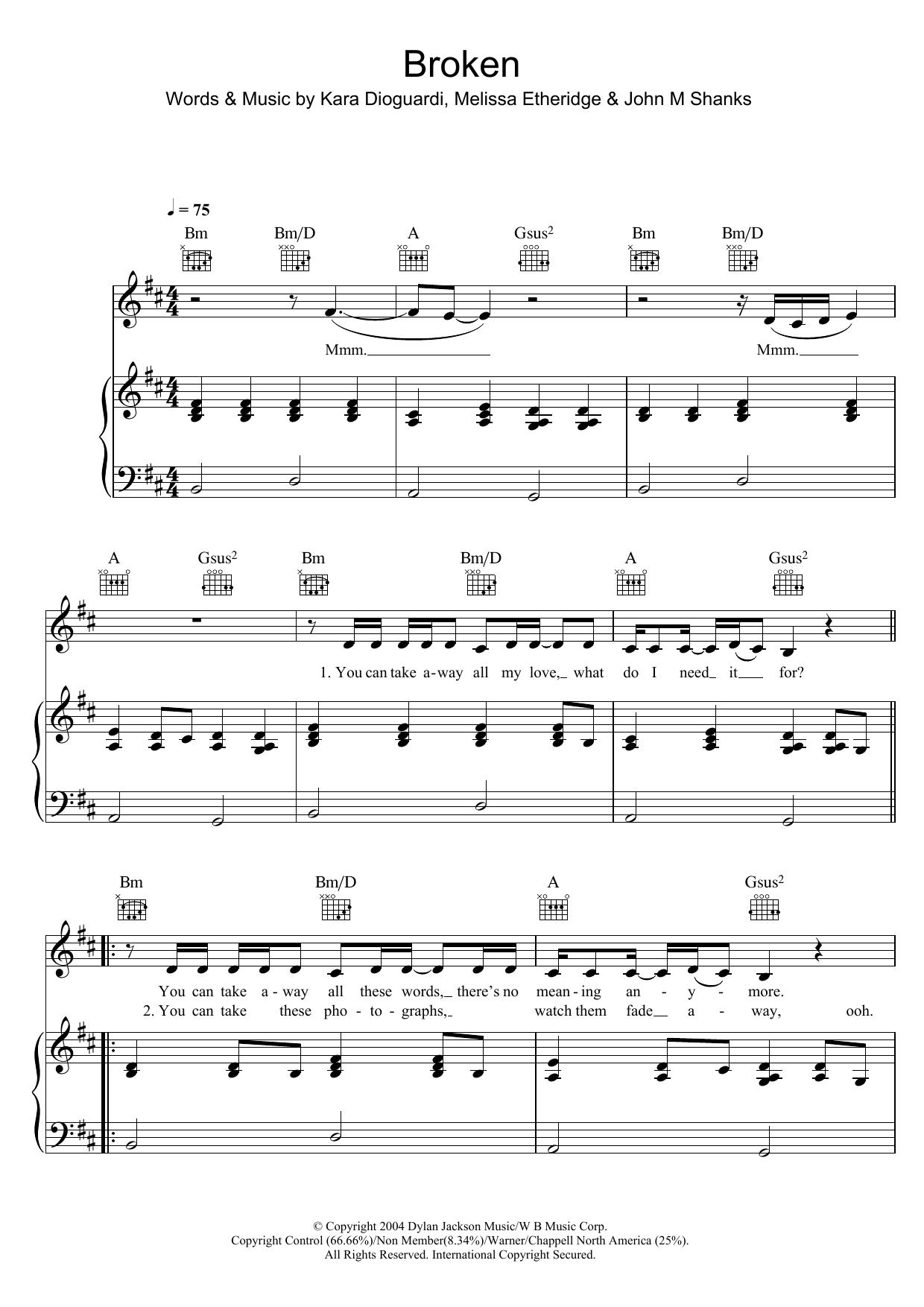 Broken sheet music