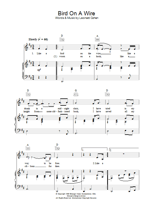 Bird On The Wire (Bird On A Wire) sheet music