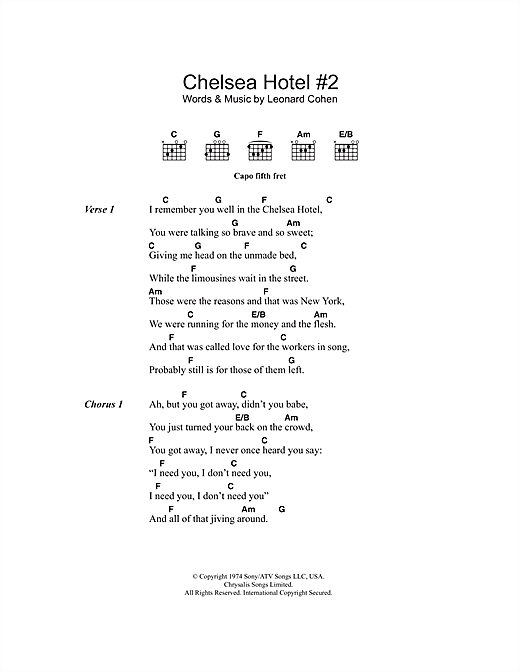 Chelsea Hotel #2 sheet music