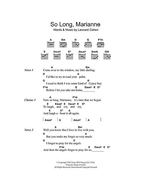So Long, Marianne sheet music