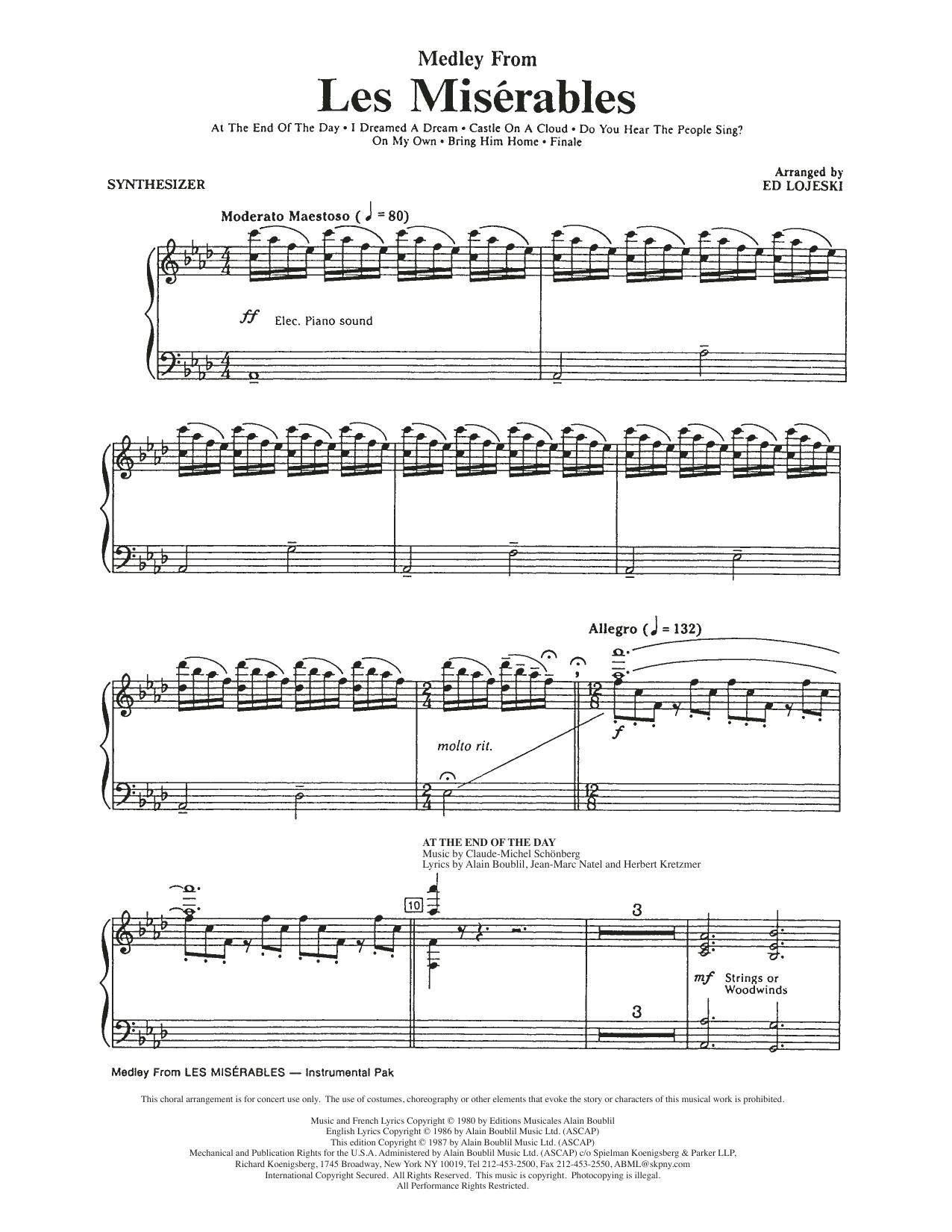 Boublil And Schonberg Les Miserables Choral Medley Arr Ed Lojeski Synthesizer Sheet Music Download Pdf Score 280742