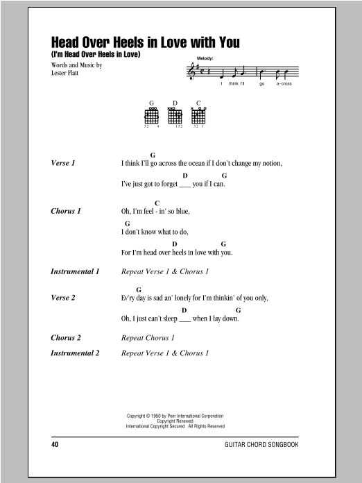 Head Over Heels In Love With You (I'm Head Over Heels In Love) sheet music