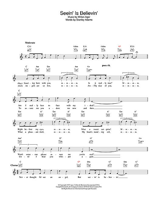 Seein' Is Believin' sheet music
