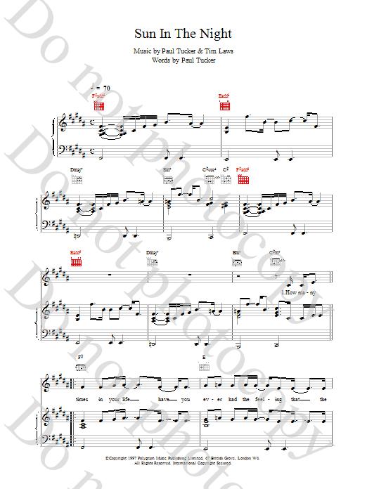 Sun In The Night sheet music