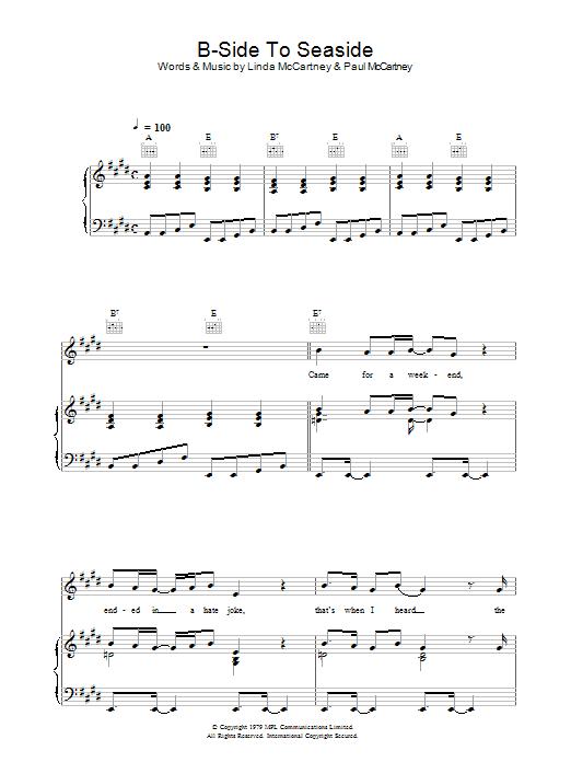 B-Side To Seaside sheet music