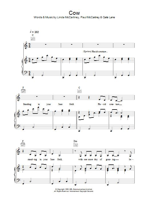 Cow sheet music