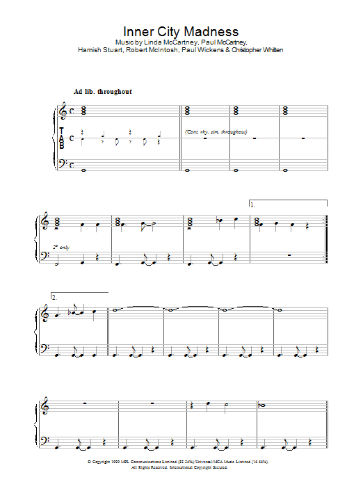 Inner City Madness sheet music