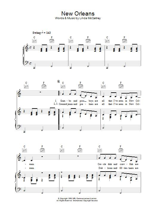 New Orleans sheet music