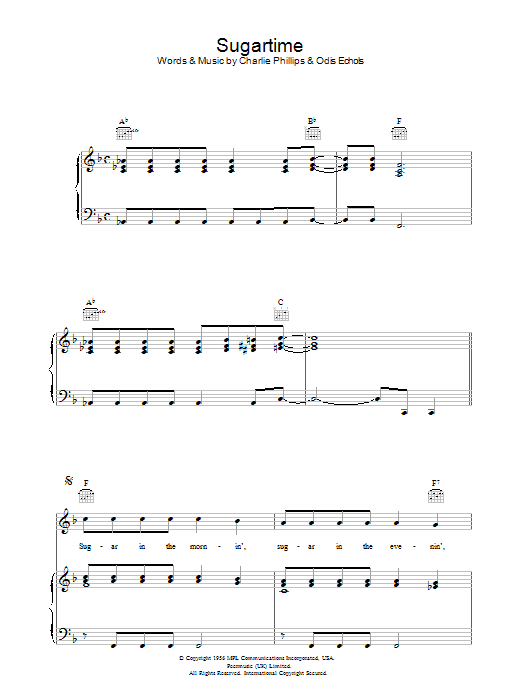 Sugartime sheet music