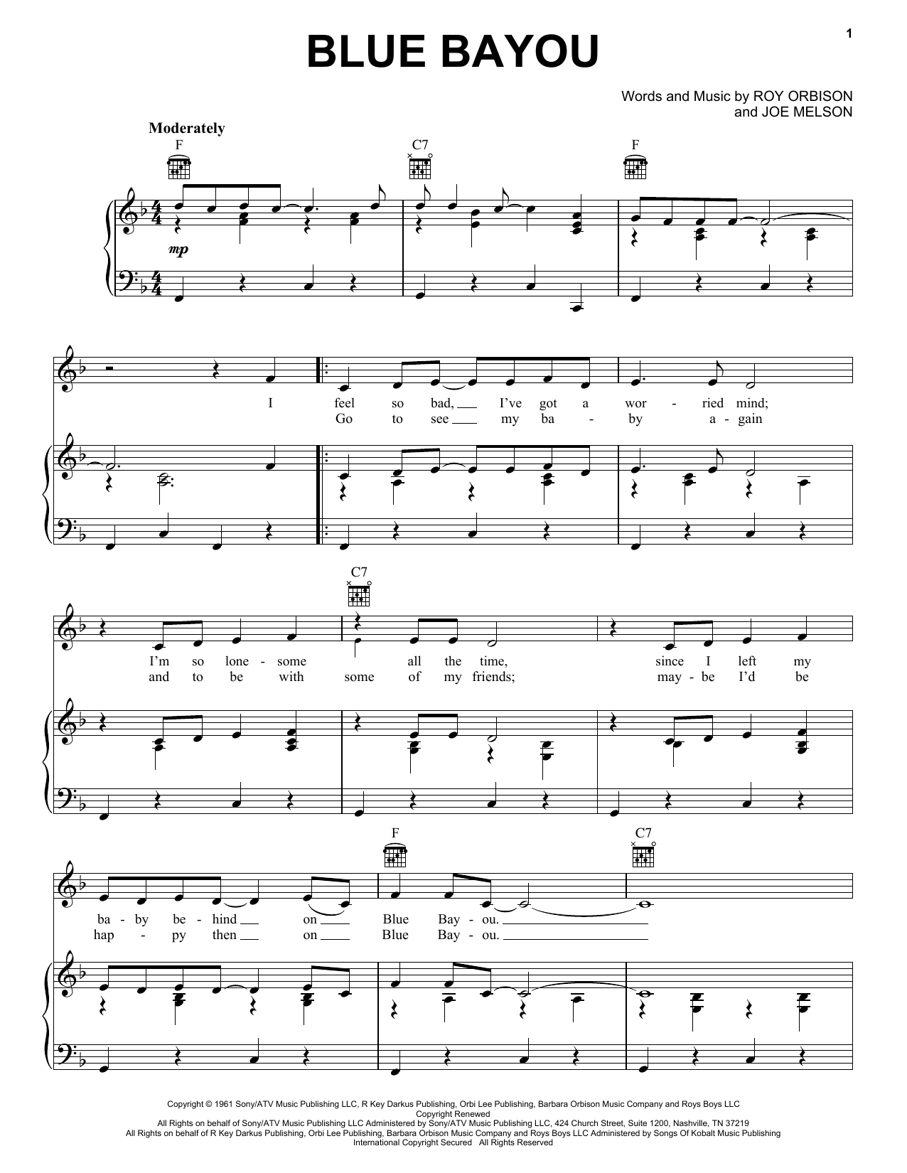 Blue Bayou sheet music