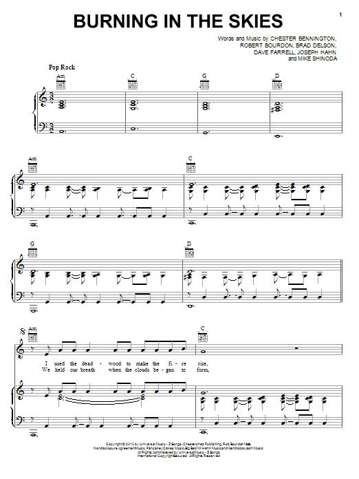 Burning In The Skies sheet music