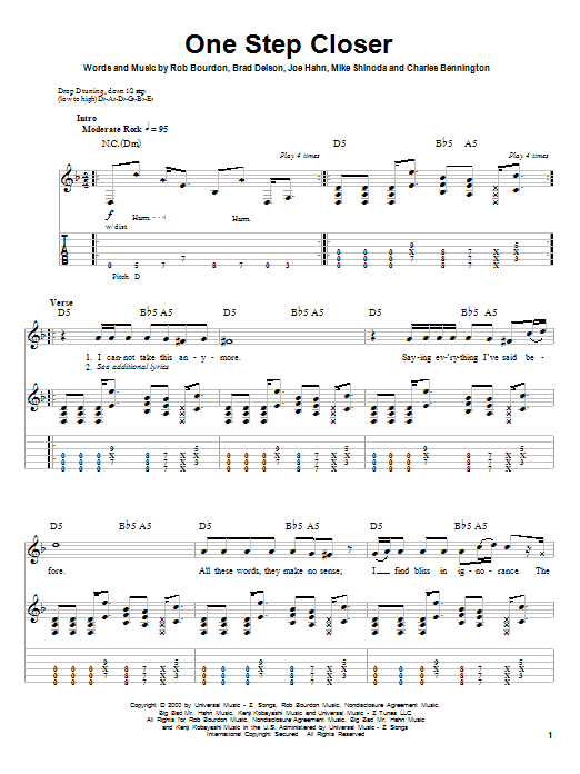 One Step Closer sheet music