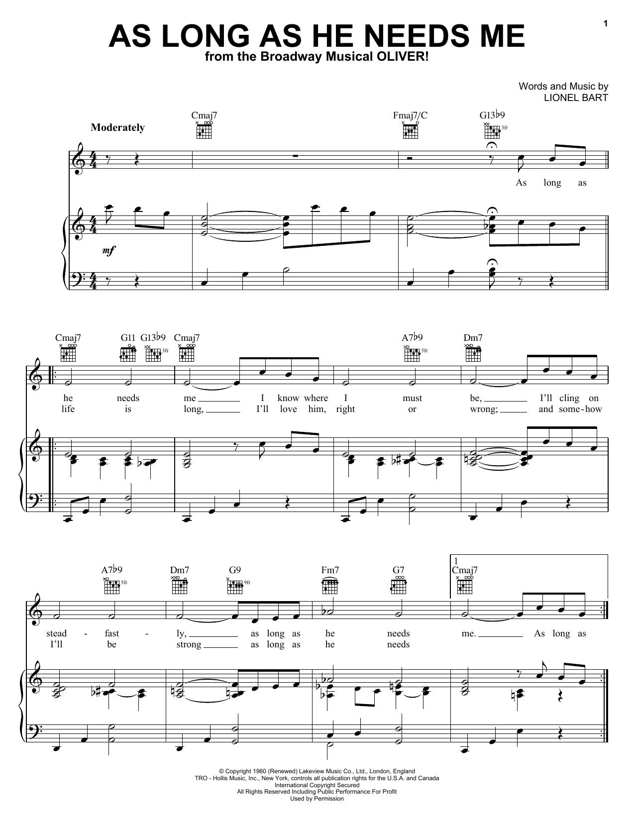 As Long As He Needs Me sheet music