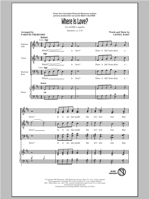 Where Is Love? (arr. Paris Rutherford) sheet music