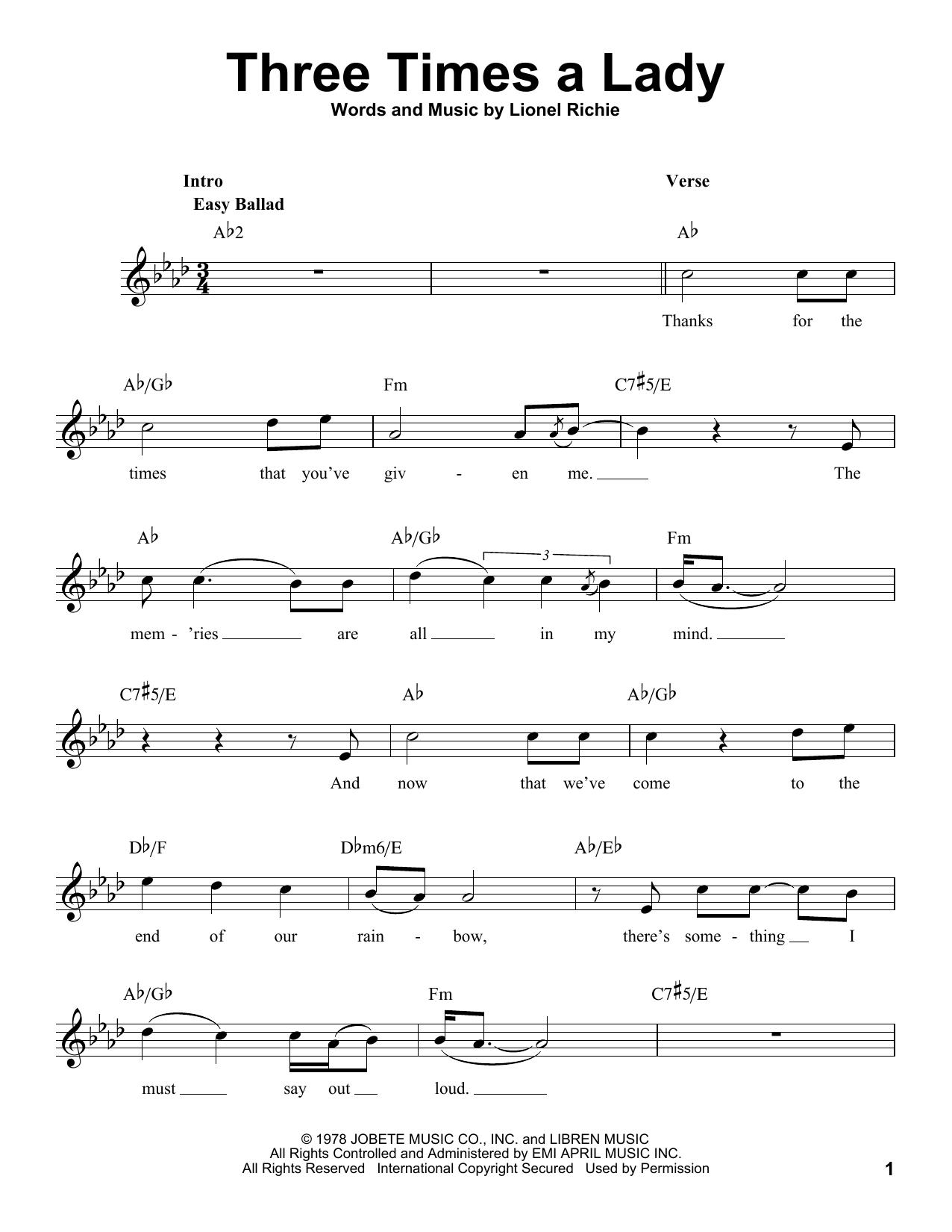 Three Times A Lady sheet music