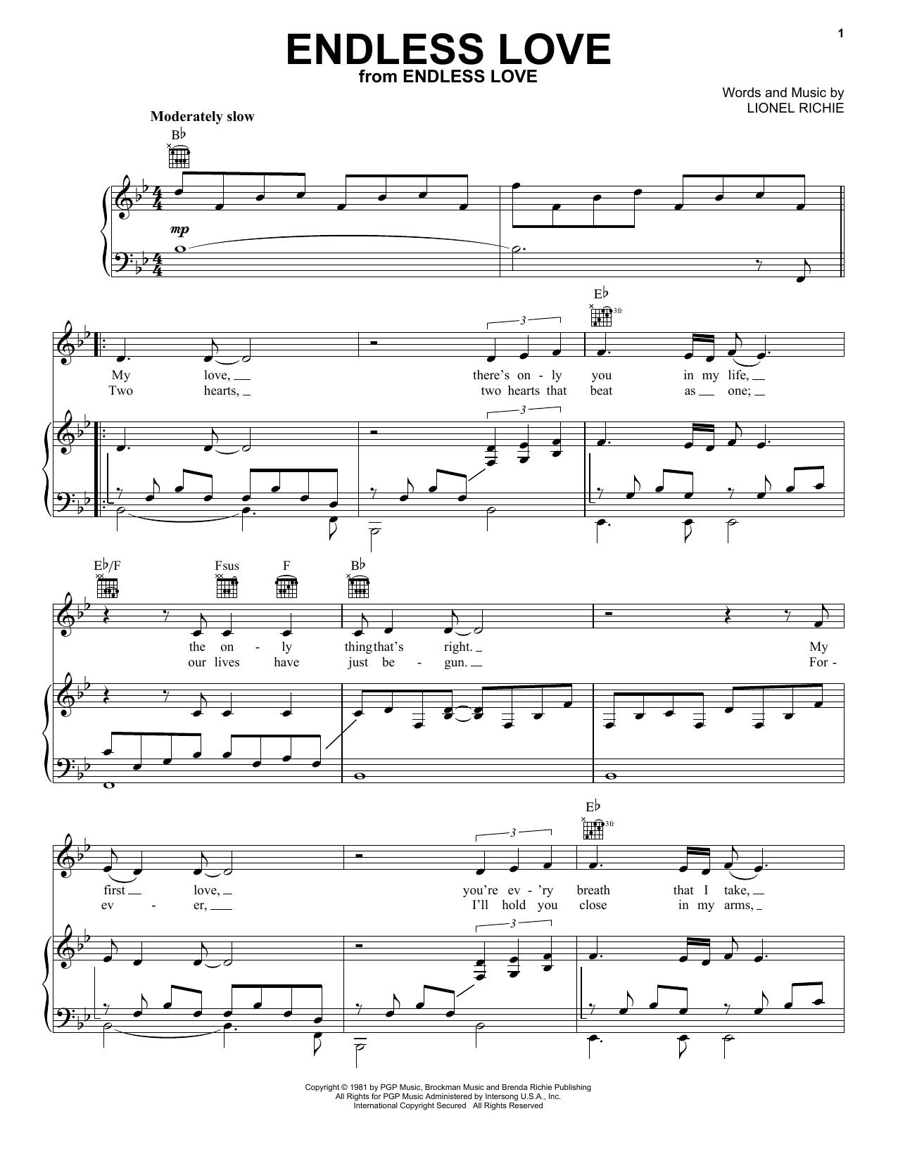 Endless Love sheet music