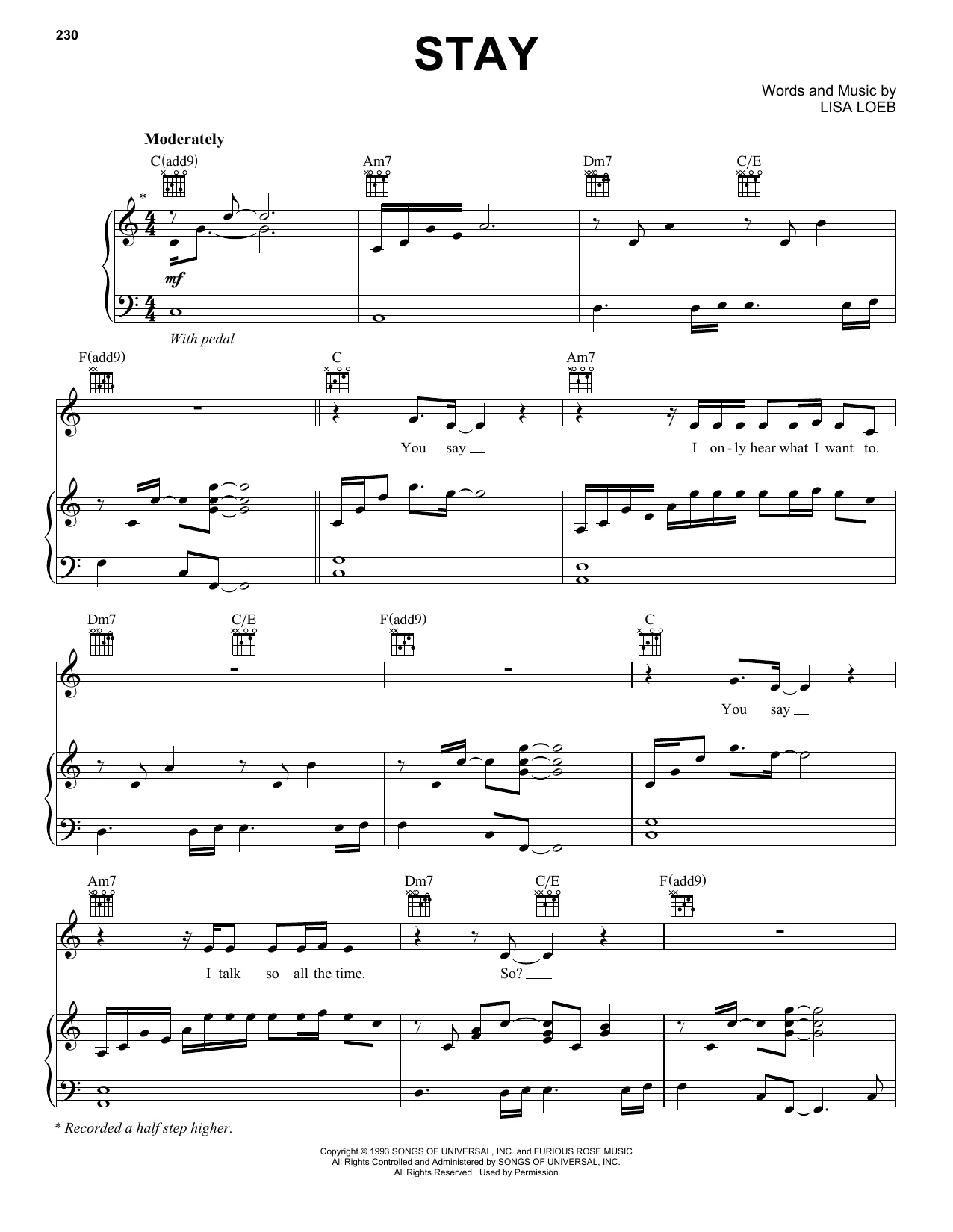 Stay sheet music