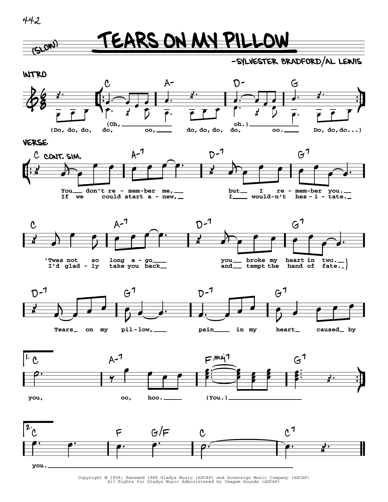 Little Anthony The Imperials Tears On My Pillow Sheet Music Notes Download Pdf Score Printable