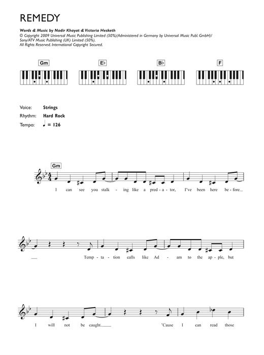Remedy sheet music