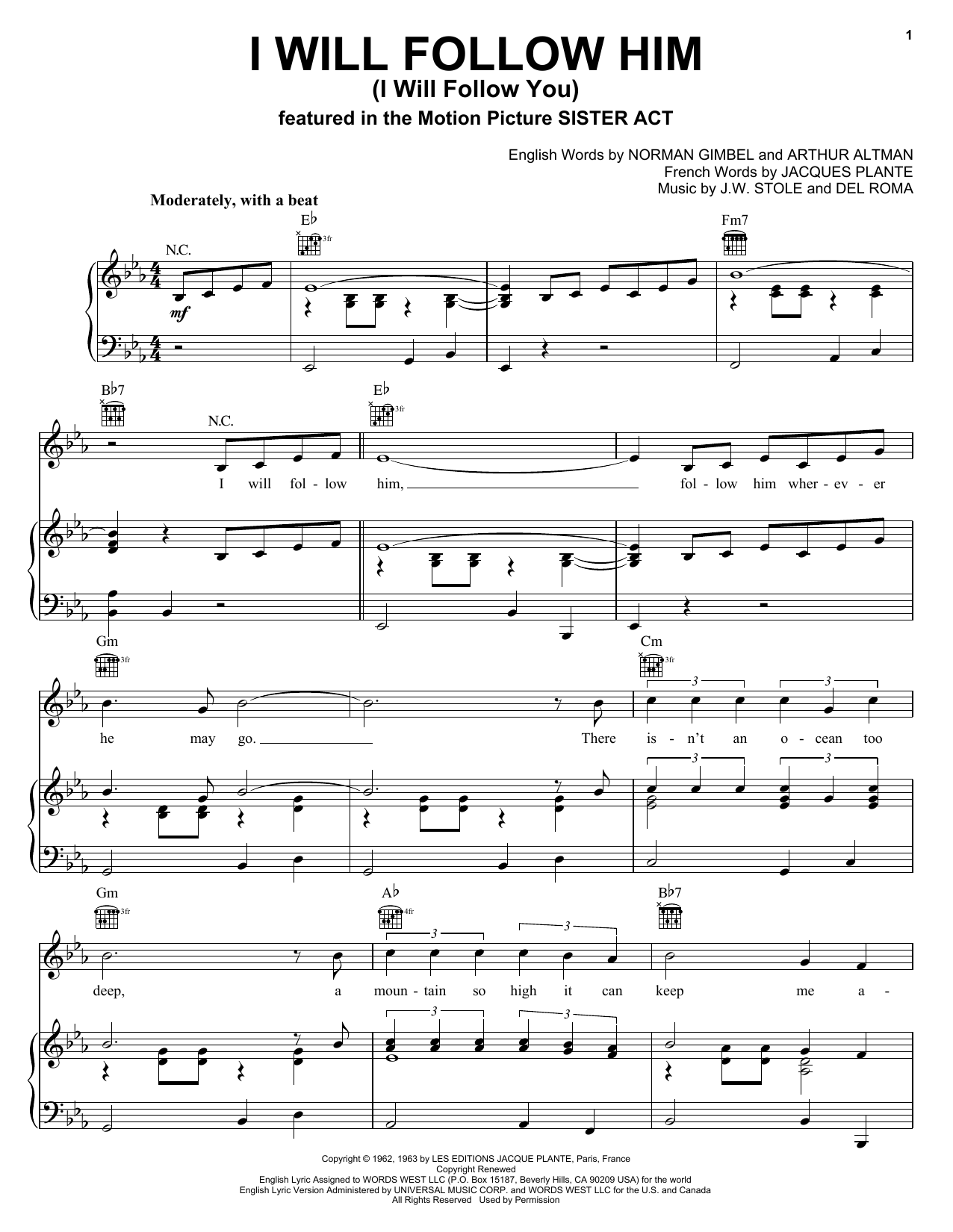 I Will Follow Him (I Will Follow You) sheet music