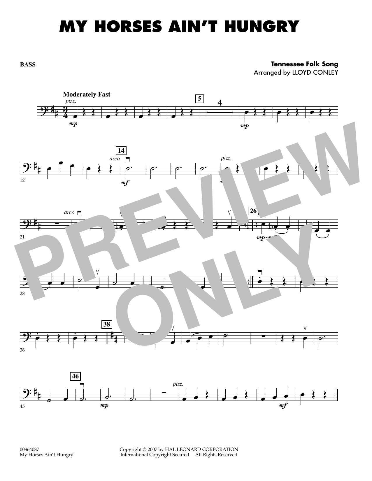 My Horses Ain't Hungry - Bass sheet music