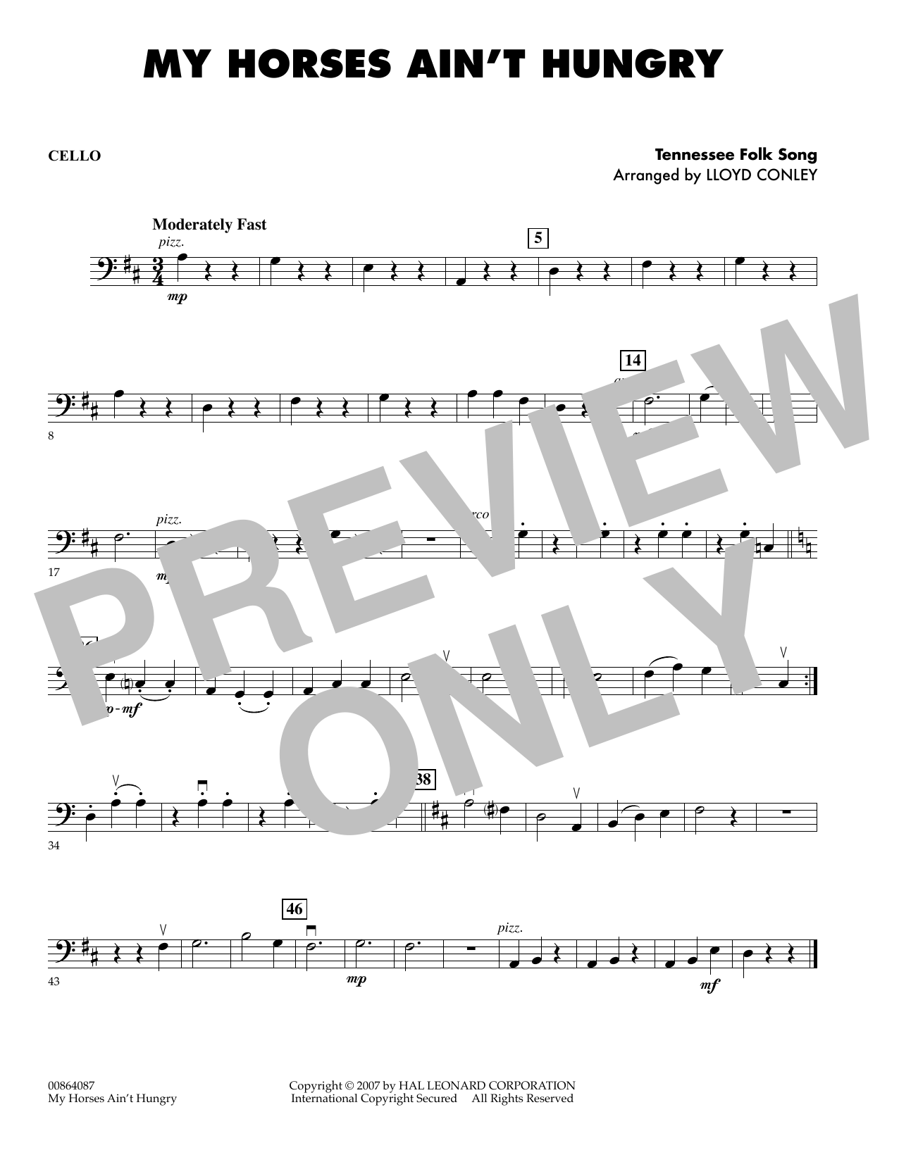 My Horses Ain't Hungry - Cello sheet music