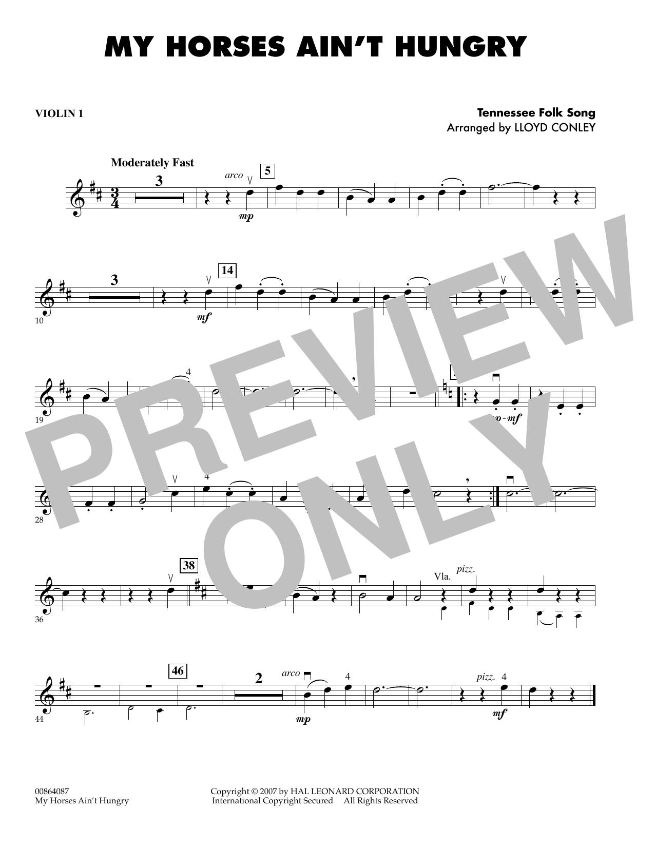 My Horses Ain't Hungry - Violin 1 sheet music