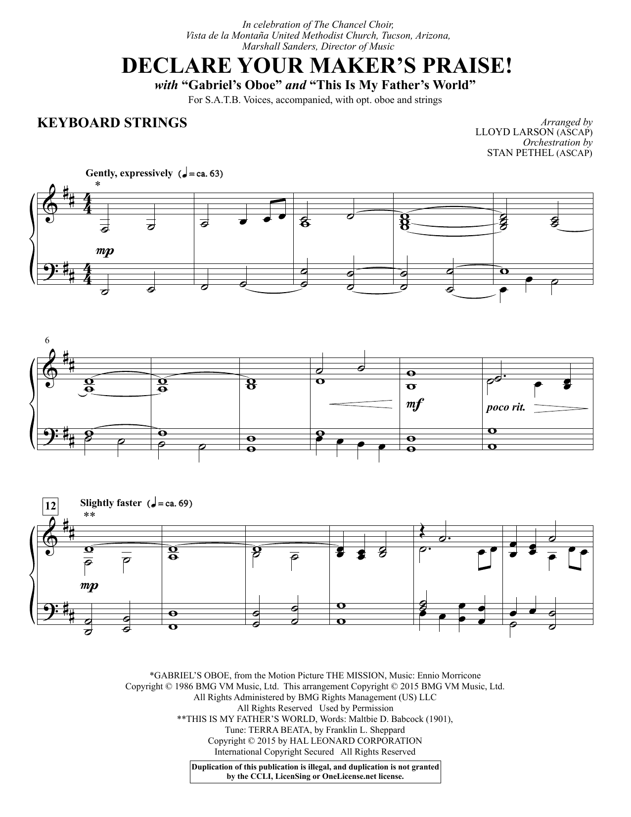 Declare Your Maker's Praise! - Keyboard String Reduction sheet music