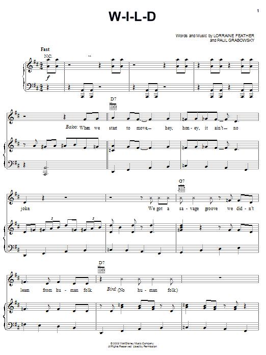 W-I-L-D sheet music